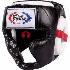 Шлем Fairtex HG10 black-white для тайского бокса