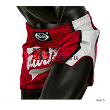 Тайские шорты Fairtex BS1704 Slim Red White